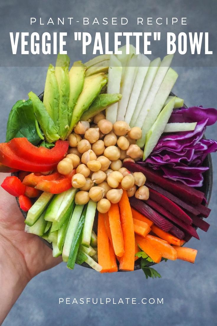 "Veggie ""Palette"" Bowl | Plant-Based Vegan Bowl Recipe | Buddha Bowl | Nourish Bowl | Raw Vegan"