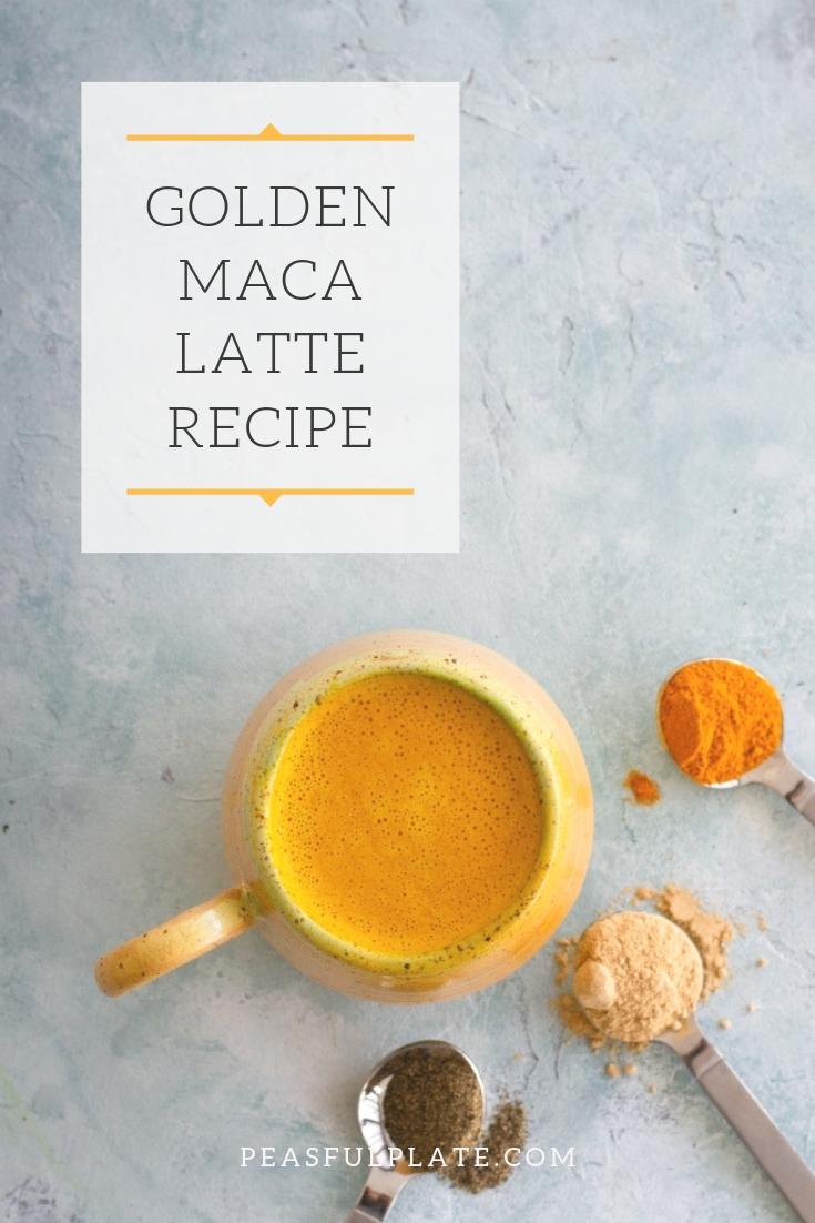 Golden Maca Latte | A caffeine free and vegan latte with turmeric, maca powder, black paper, and homemade cashew milk.