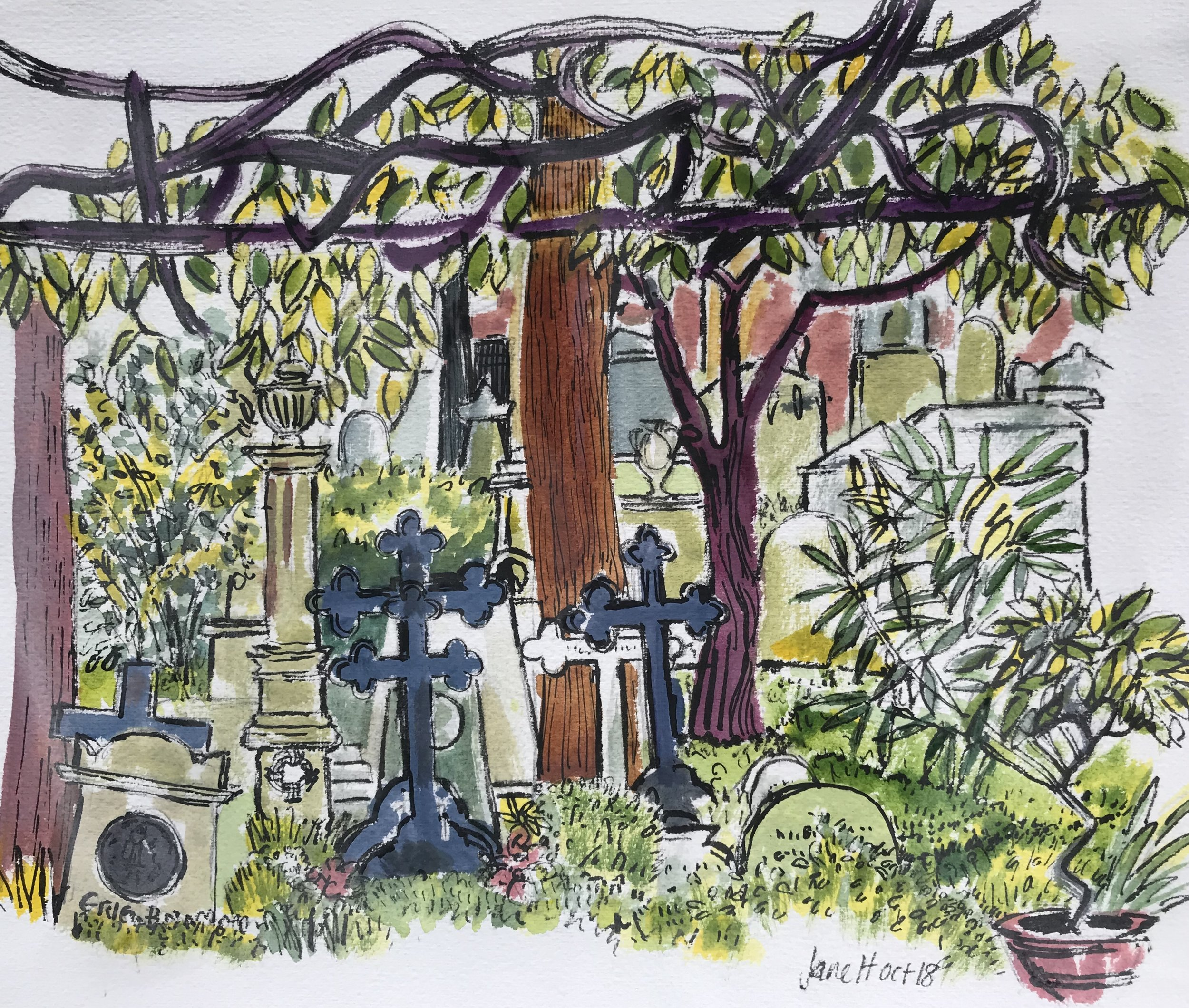 The Canopy. Non Catholic Cemetery of Rome. (Gouache, pen and ink) £60 framed