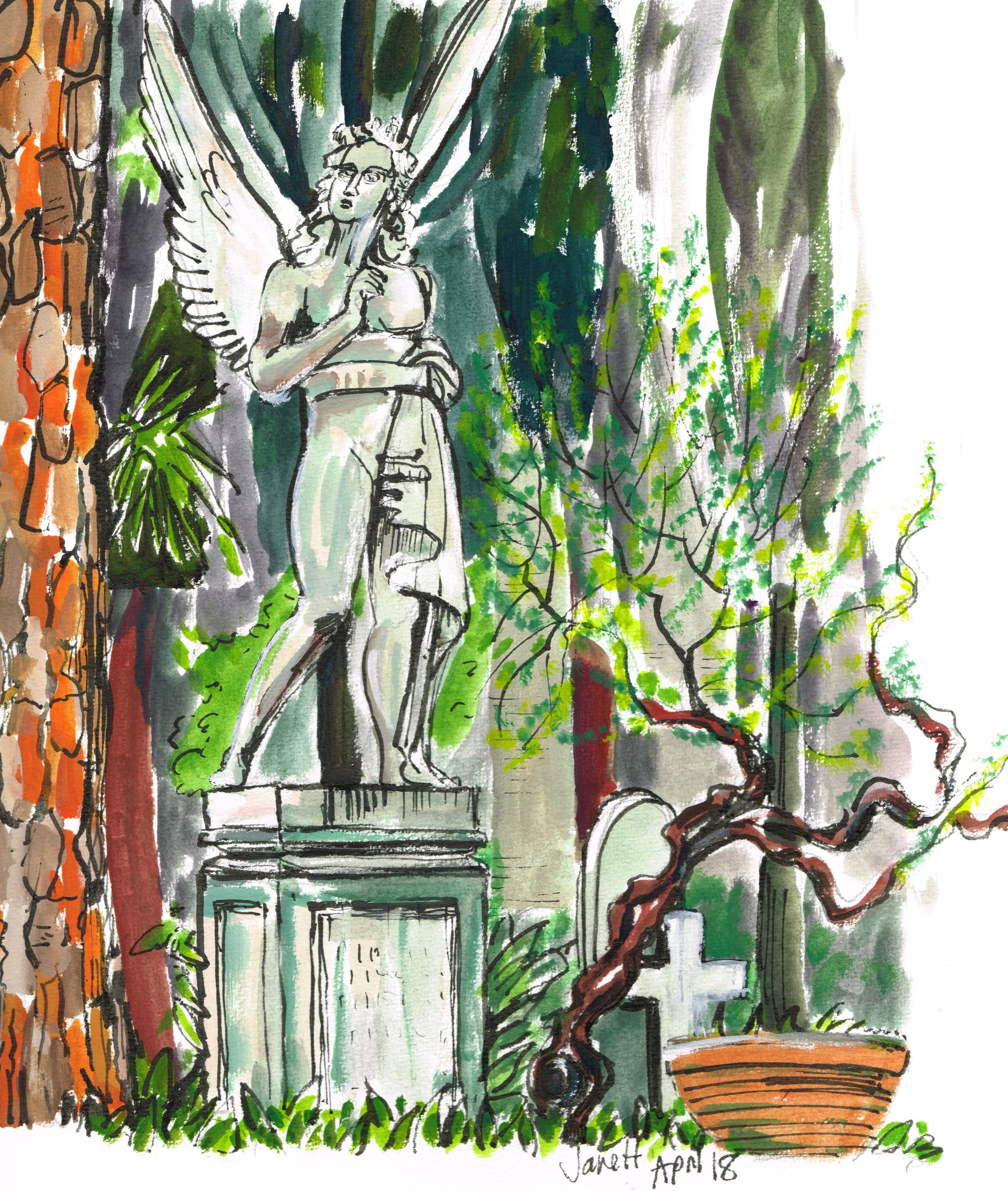 The Deco Angel. Non Catholic Cemetery of Rome. (Gouache). £70 framed