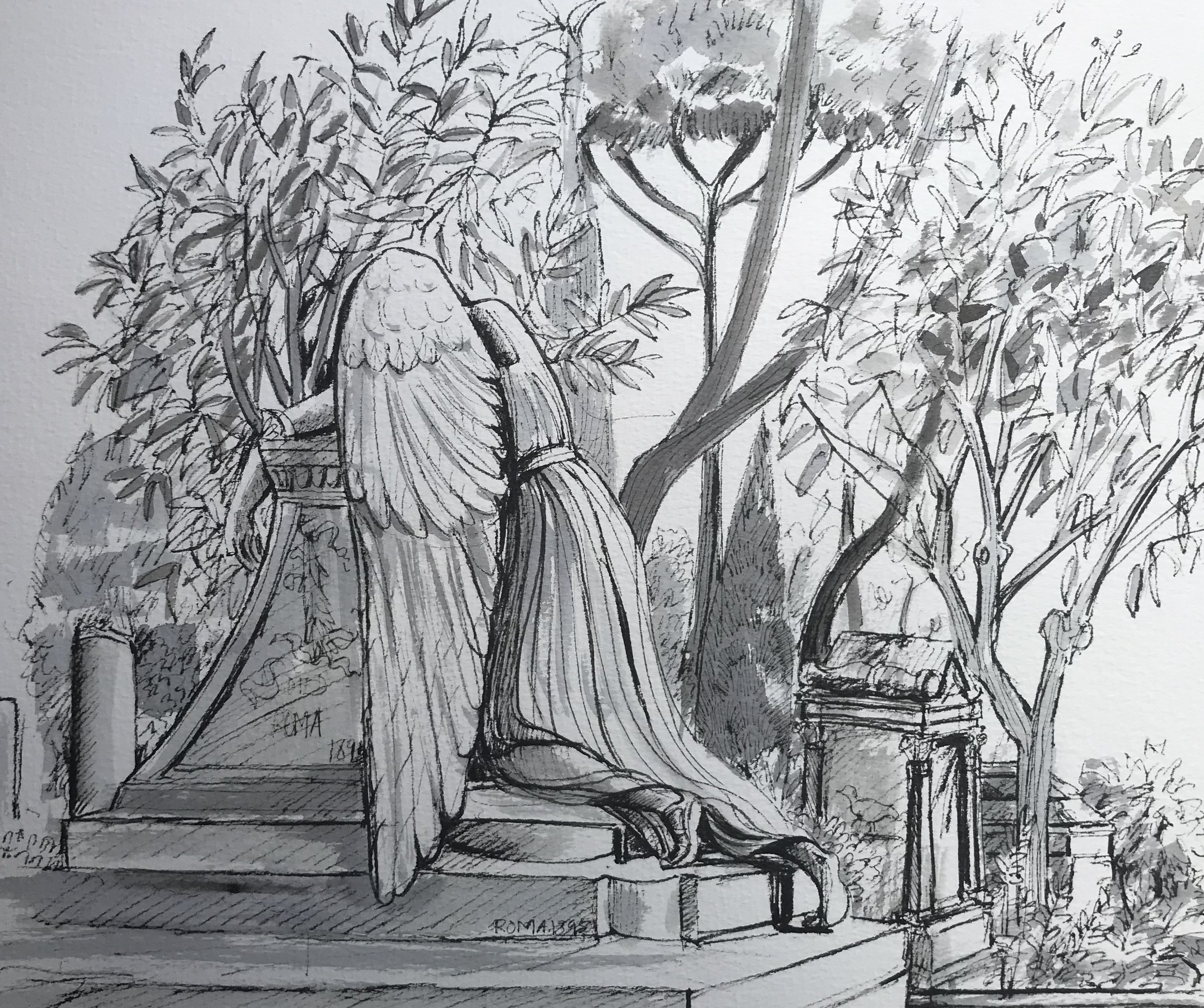 The Weeping Angel. Non Catholic Cemetery of Rome (Graphite and wash). Probably the most photographed monument in the cemetery. £60 framed
