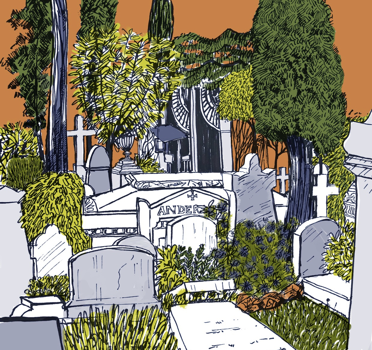 The Anderson Tomb Non Catholic Cemetery of Rome. (Pen and ink and digital colour) Using a palette inspired by John Minton. £45 framed £30 unframed (Edition of five)