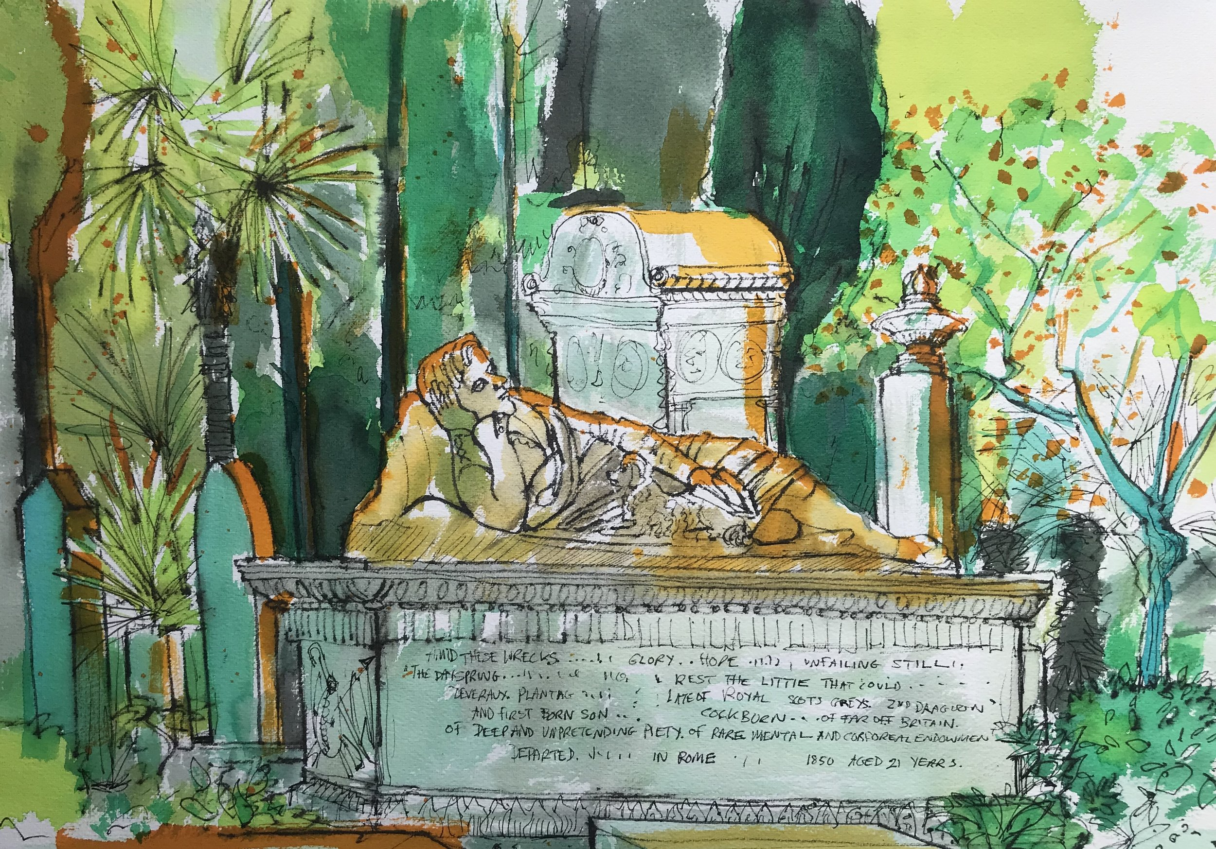 Resting Man Non Catholic Cemetery of Rome (pen and ink plus coloured inks) £60 framed