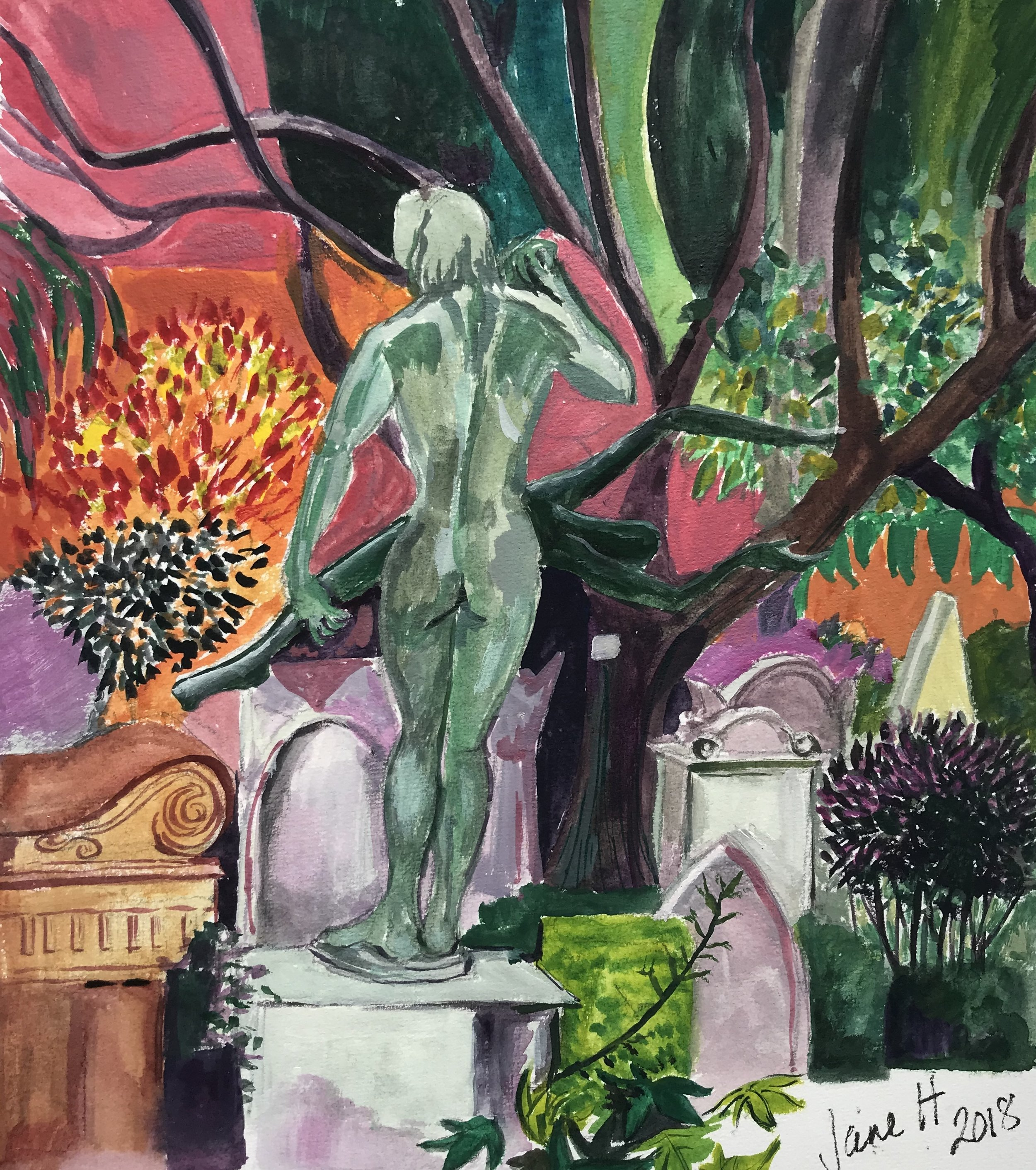 The Green Woman Non Catholic Cemetery of Rome. Gouache 39 x 45cm £70 framed