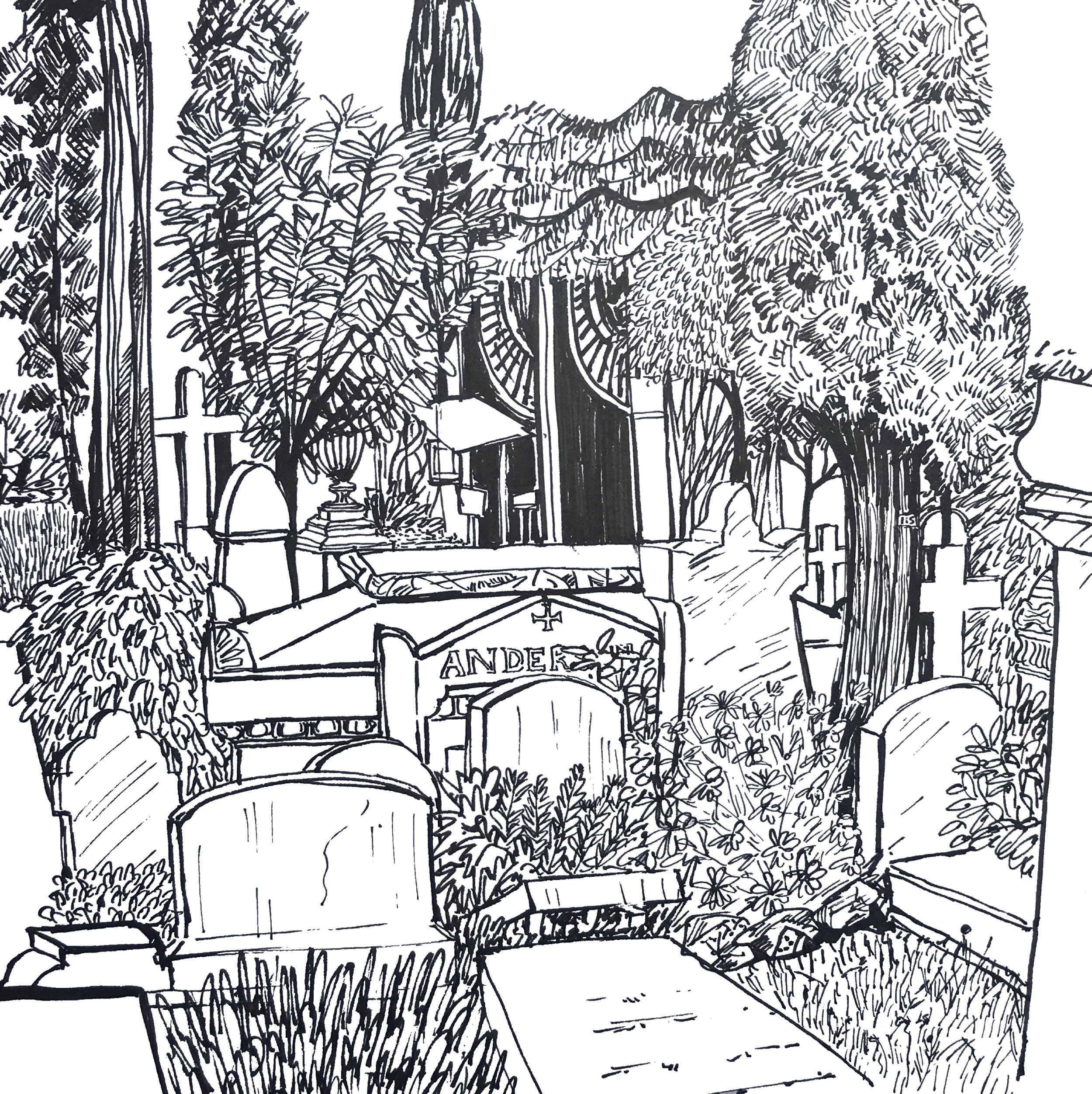 The Anderson Tomb  Non Catholic Cemetery of Rome.(Pen and Ink Drawing) 43.5 x 43.5cm £50 framed -