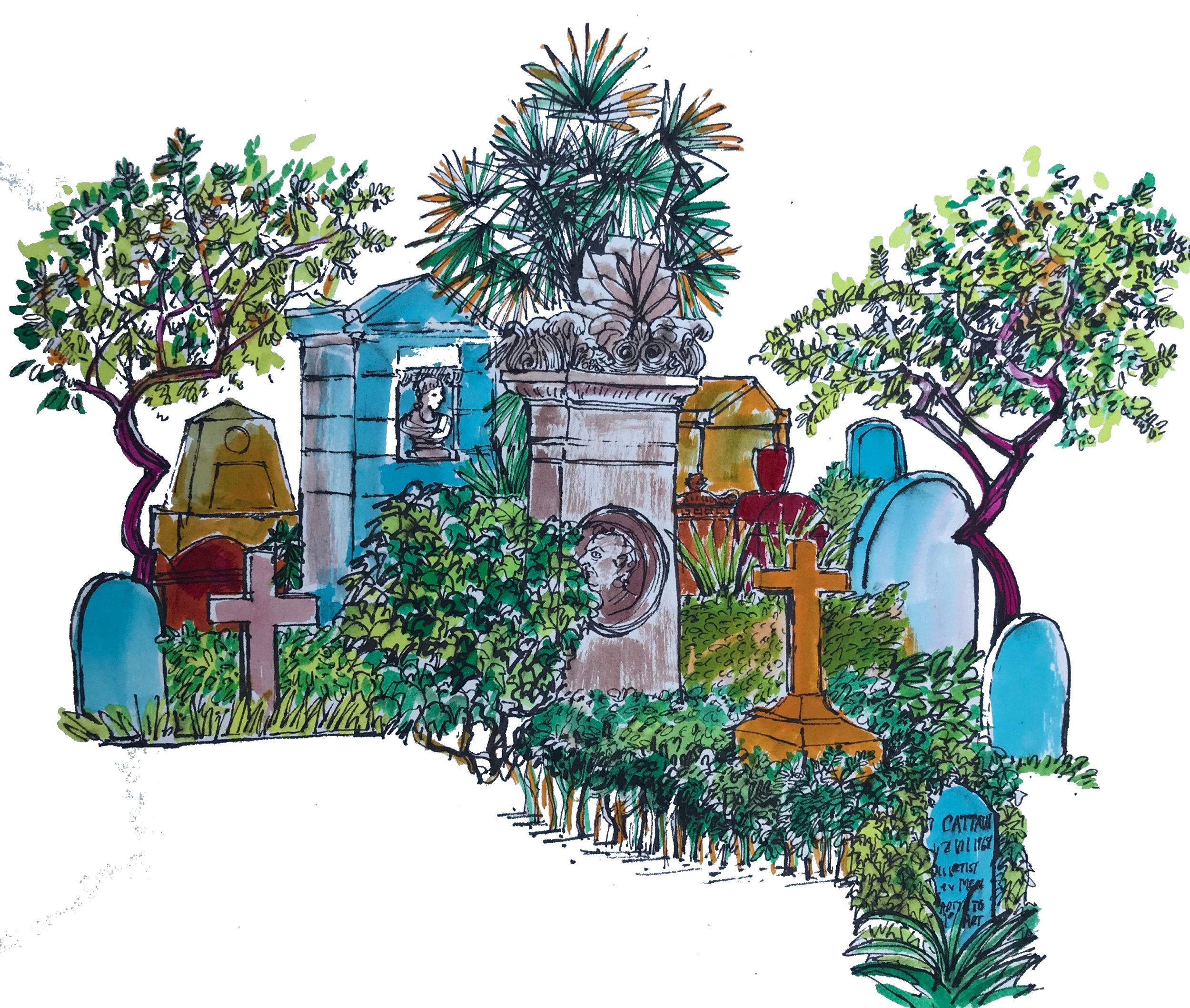 The Gardeners' favourite Non Catholic Cemetery of Rome. (Coloured Inks) 48 x 44cm £50 framed -