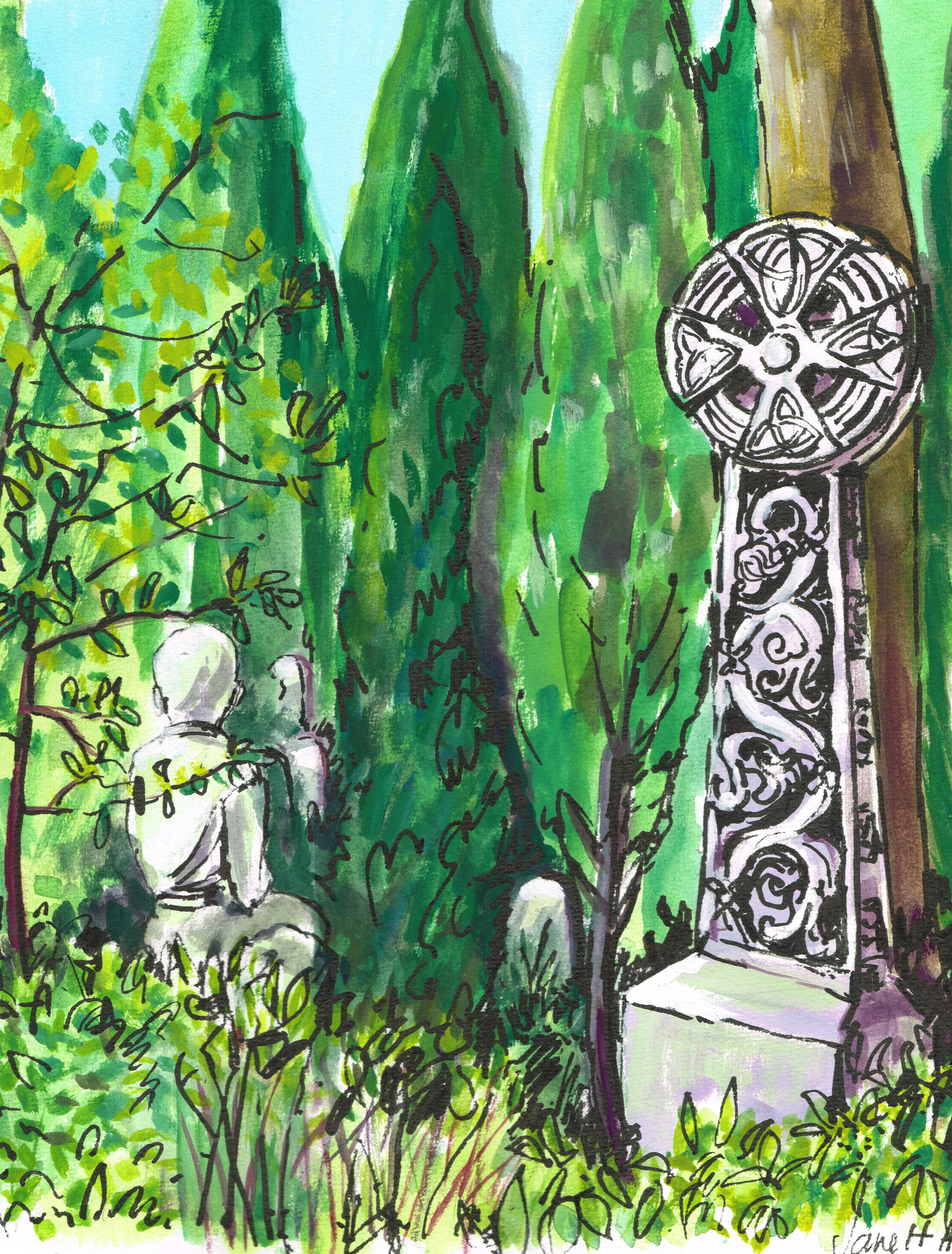Young Boy. Non Catholic Cemetery of Rome.(Gouache, pen and ink). 45 x 37cm £60 framed -