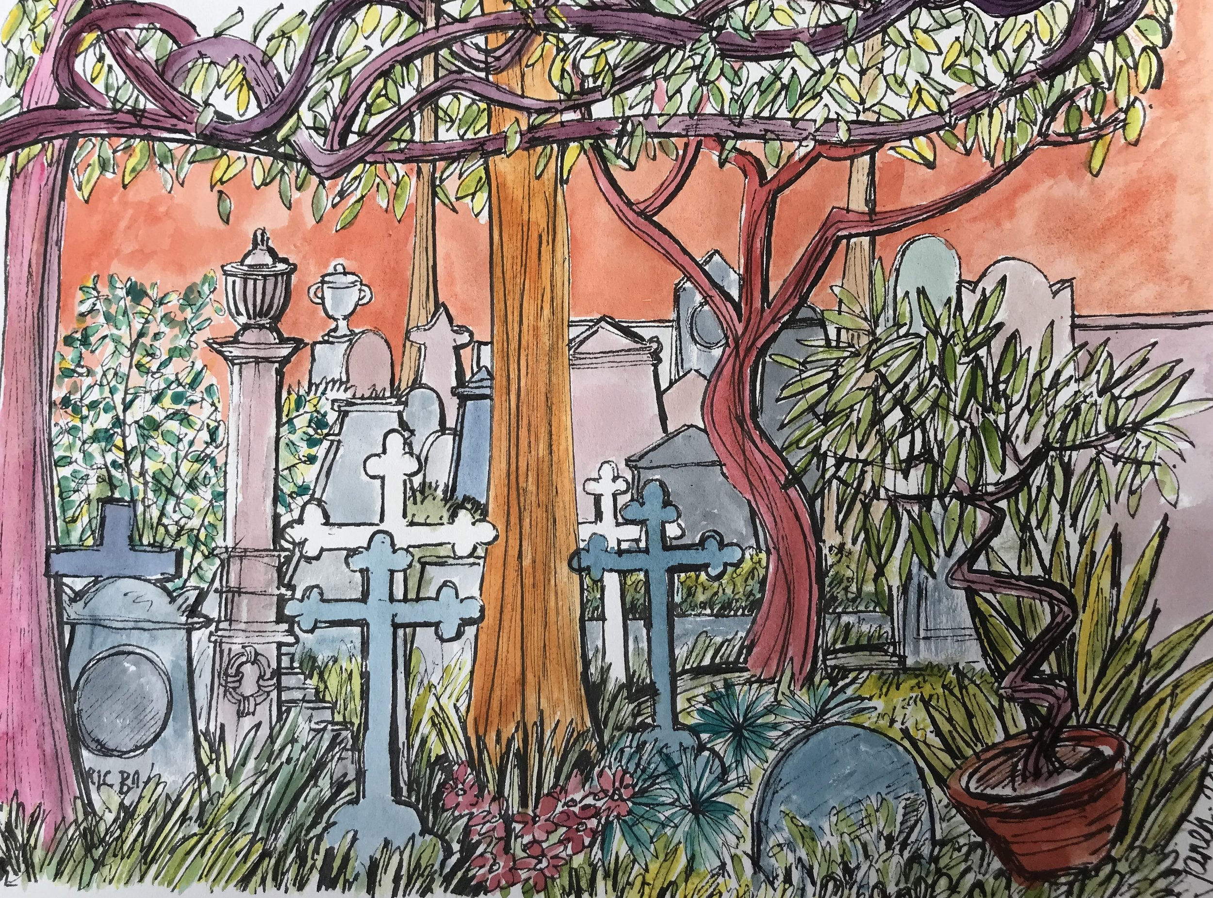 The Canopy v2 Non Catholic Cemetery of Rome. (watercolour, pen and ink). 54 x 43.5cm £70 framed.