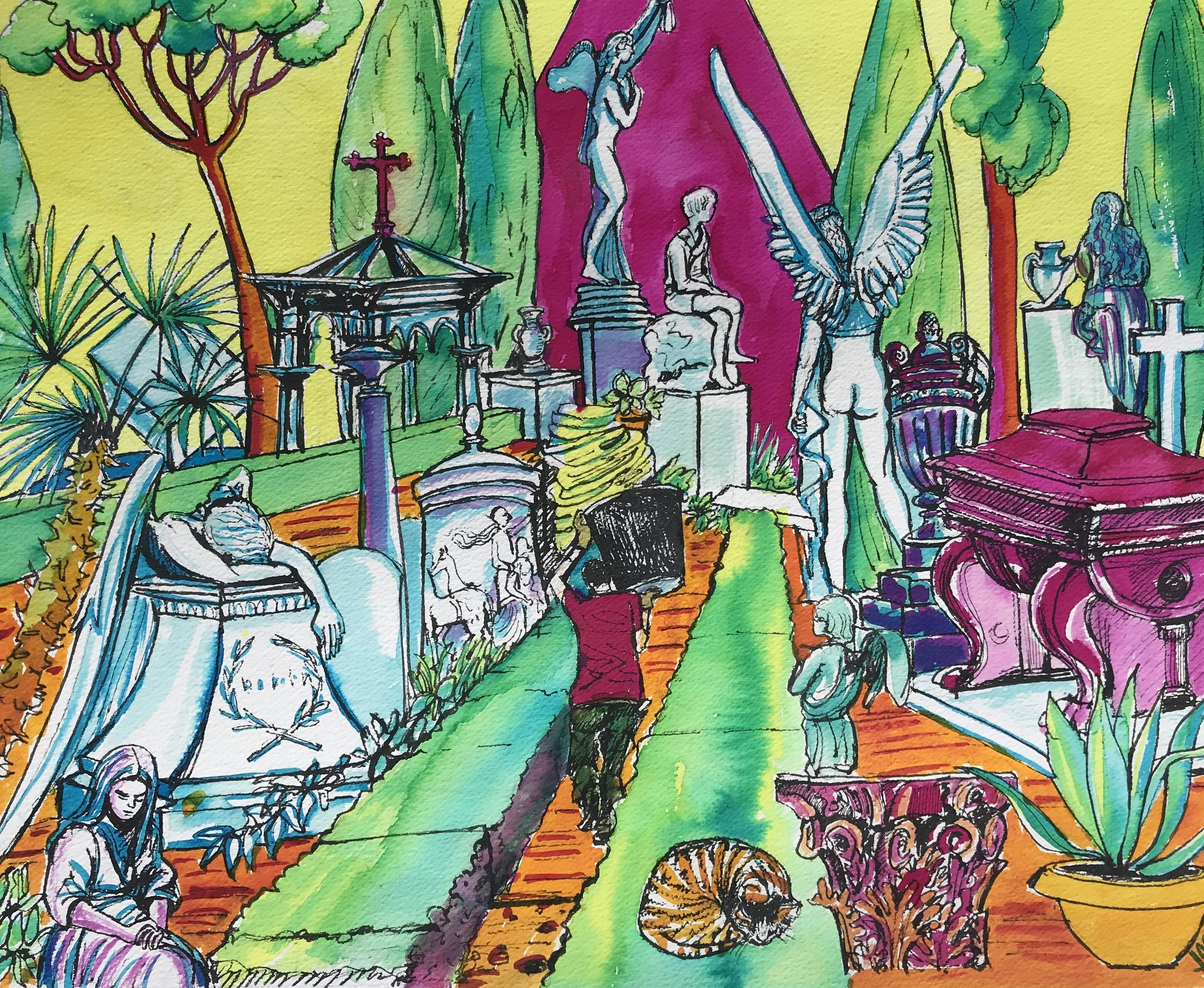 Multicoloured Cemetery Non Catholic Cemetery of Rome. (coloured inks, pen and ink) 49 x 57.5cm £60 framed