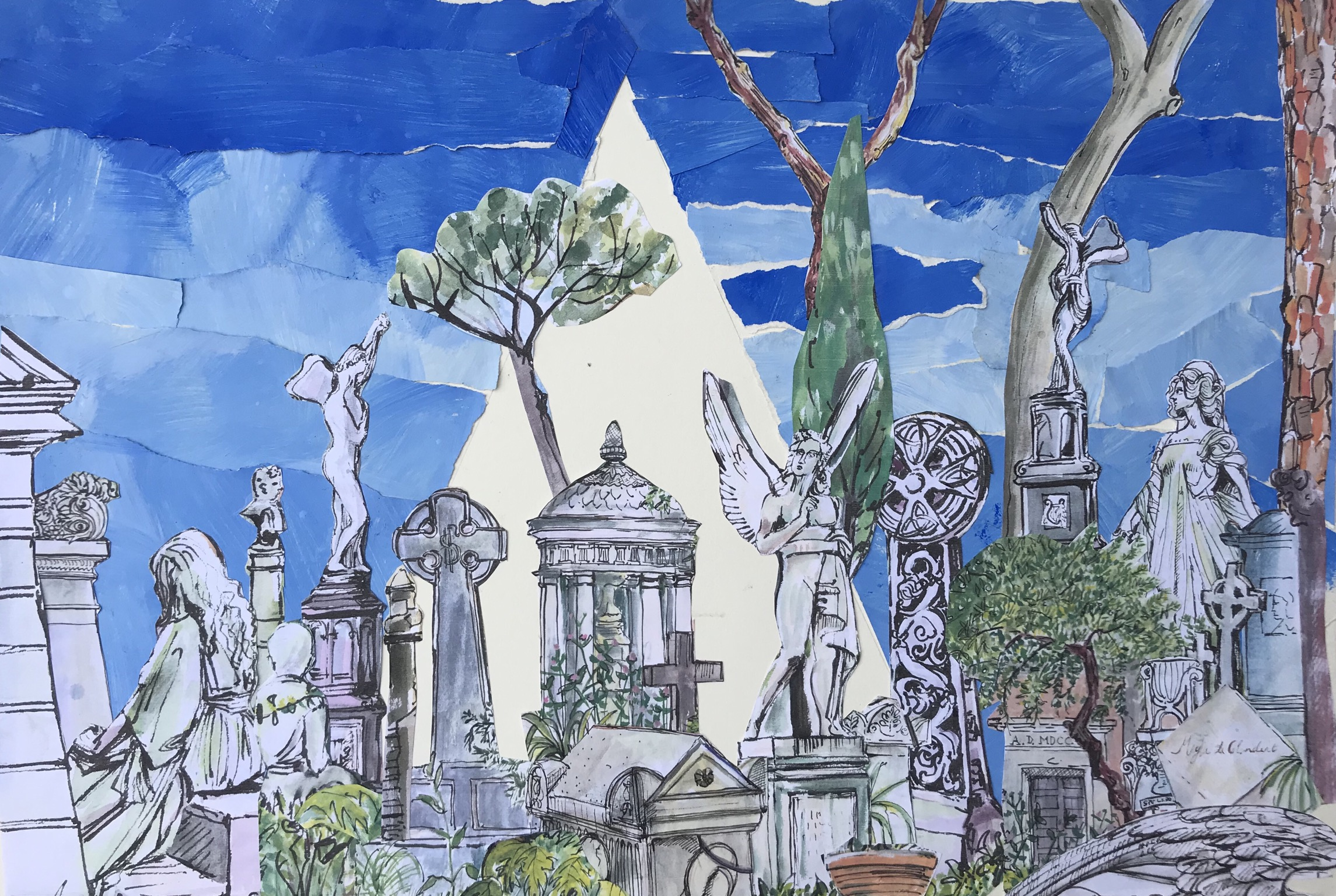 The Pyramid Non Catholic Cemetery of Rome.(collage)66 x 49cm £60 framed -