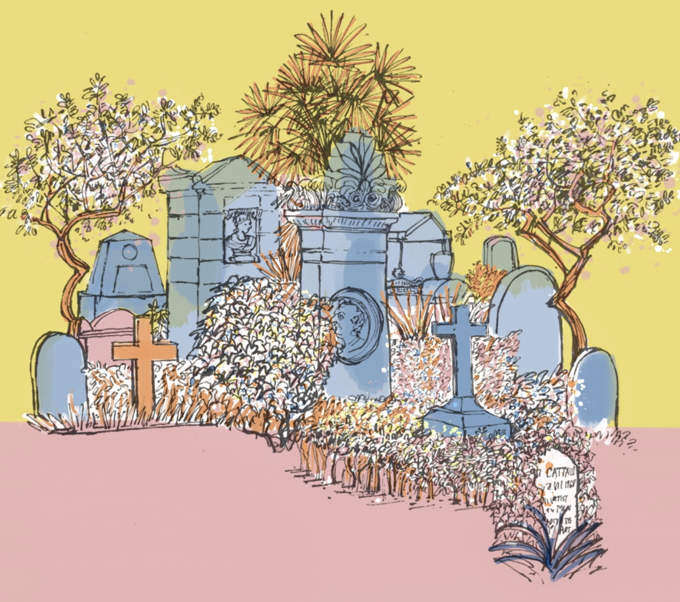 Pink and Yellow Non Catholic Cemetery of Rome. (Digital). 42 x 33.5 £45 framed, £30 unframed (edition of 5).