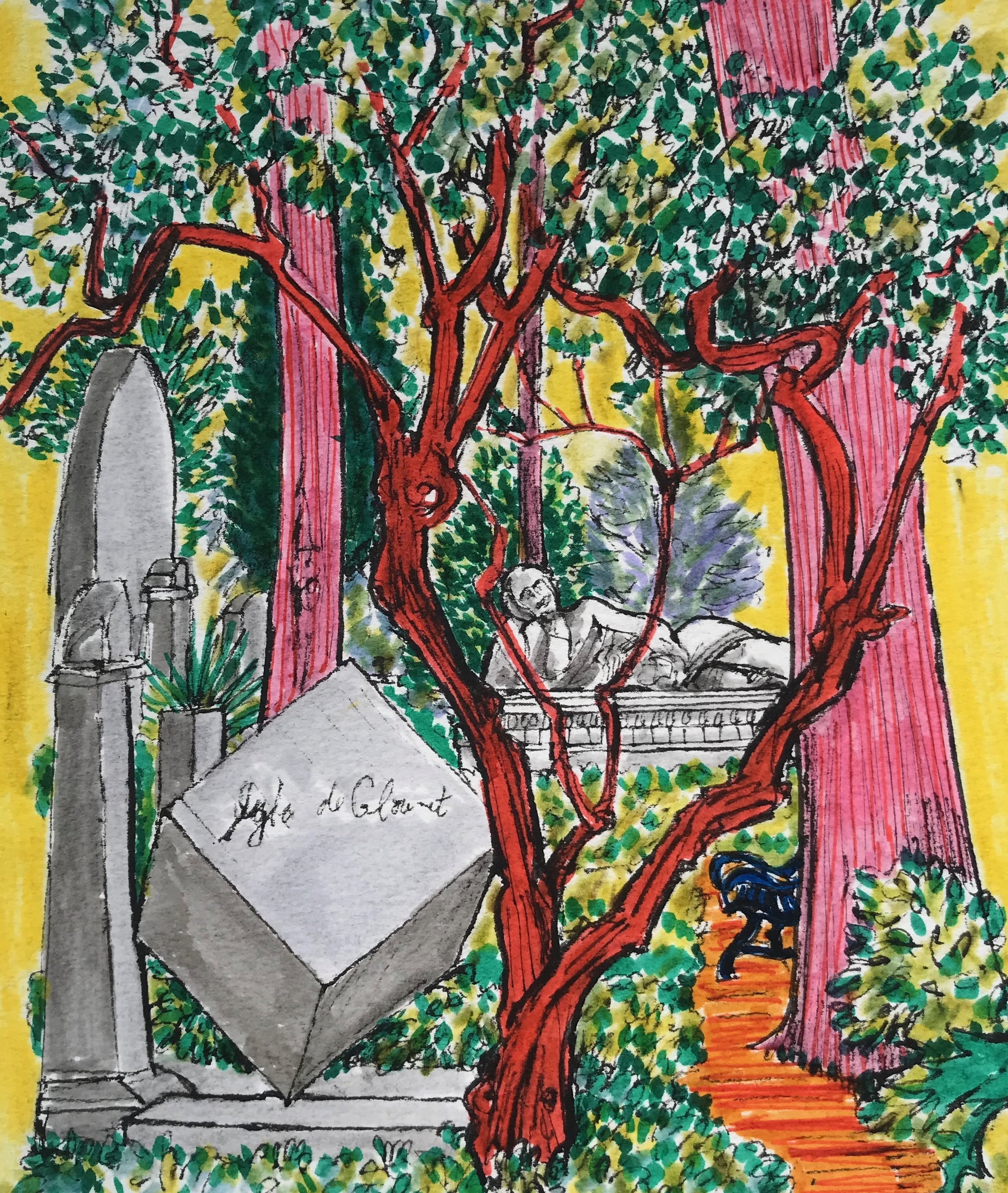 The Cube Non Catholic Cemetery of Rome. (watercolour, pen and ink) 43 x 40cm £70 framed