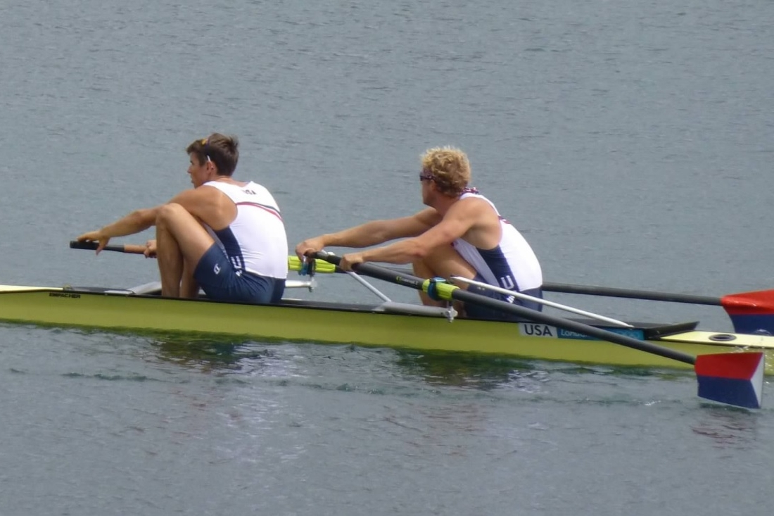Alumnus and 2012 Olympian Tom Peszek racing the 2- (bow) in London. He also won Silver at the World Rowing Championships in 2017 in the 8+.