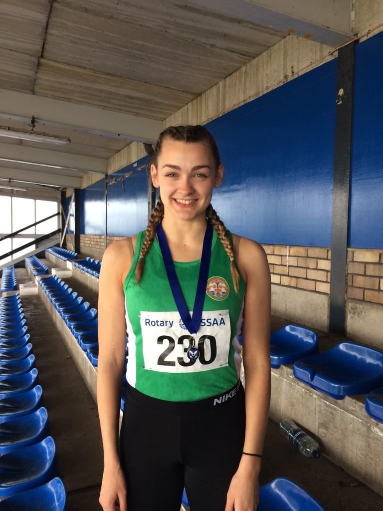 Katie Dinwoodie with her 200m Silver Medal. Credit - Craig Dinwoodie