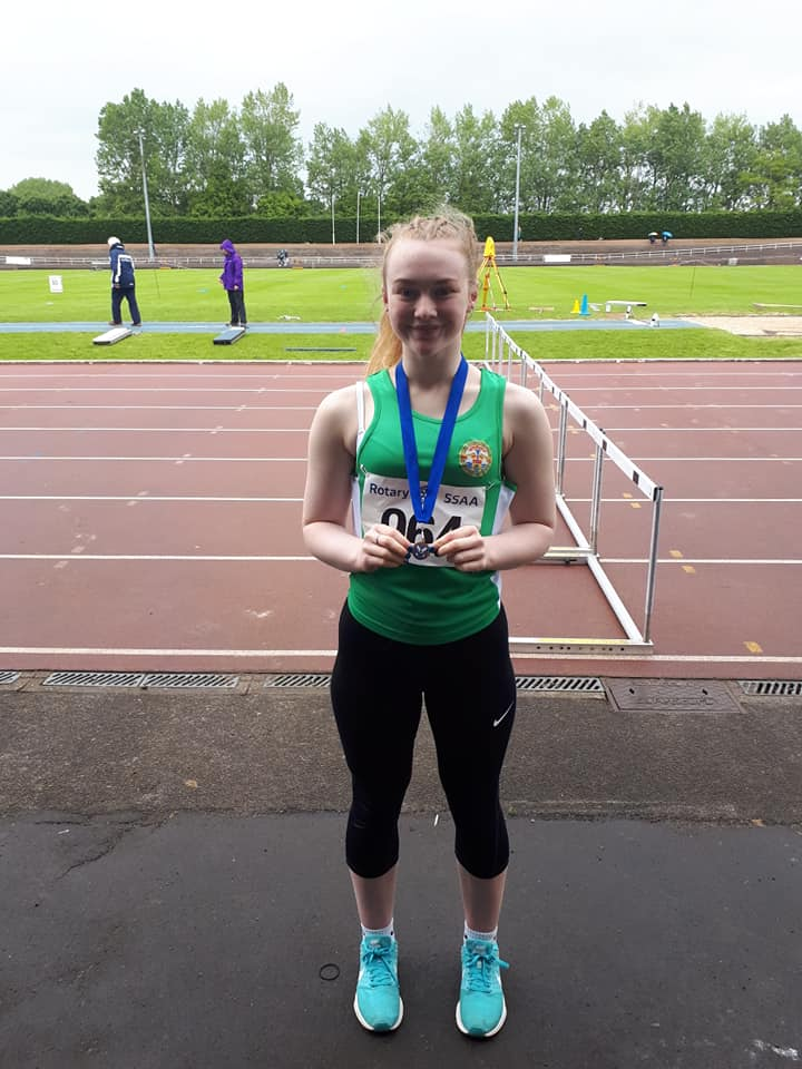 Loni Wiseman with her Bronze from the Triple Jump. Credit - Elaine Park