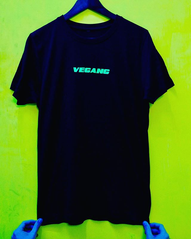 VEGANG T 🌱 a uniform for the veggies 🥑🌽🥕🥦🍍🍠🥔🥬🥒🍆🍑😉 AVAILABLE NOW WHILE STOCKS LAST  Link in Bio • black/ neon green, hand-printed by Vegans in London for OG emissions saving • thanks to the Blue Man Group for assisting with the product shots