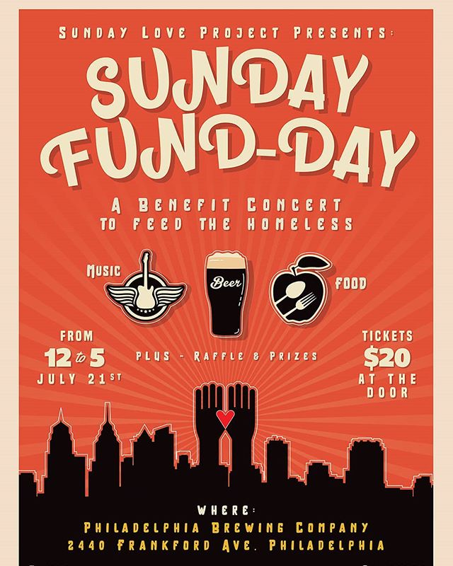 Hey everyone,  We are very proud to share the Sunday Fund-Day benefit, hosted and supported by The Sunday Love Project, an organization that serves and feeds the homeless population in Philadelphia with an emphasis on fostering community. We are honored to have been picked to perform at the Sunday Fund-Day at Philadelphia Brewing Co., along with @cookierabinowitz, Babis, and @heavenman_band  The event will run from 12 (noon) to 5 pm on July 21st. Tickets will be 20 dollars and will include food and drink, with raffles donated by Ardmore Music Hall, Blue Print Brewing Company, and other sponsors.  ALL proceeds will go towards funding The Sundag Love Project and their efforts to feed the homeless in the City of Brotherly Love!  Hope to see yous there!