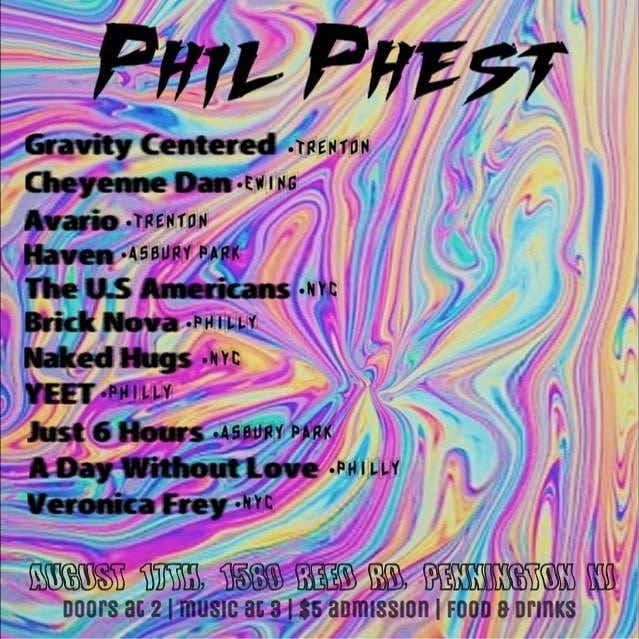 We're hopping on PHIL PHEST in Pennington, NJ on 8/17 with a buttload of rad bands. The rad bands are as follows: @theusamericans @_gravitycentered @yeet_band @ilovenakedhugs @cheyennedan_nj @avario_official @just6hours @havenbandnj @veronicafreymusic and @adaywithoutlove  Let us know if you wanna tag-along and need a ride to the gig!
