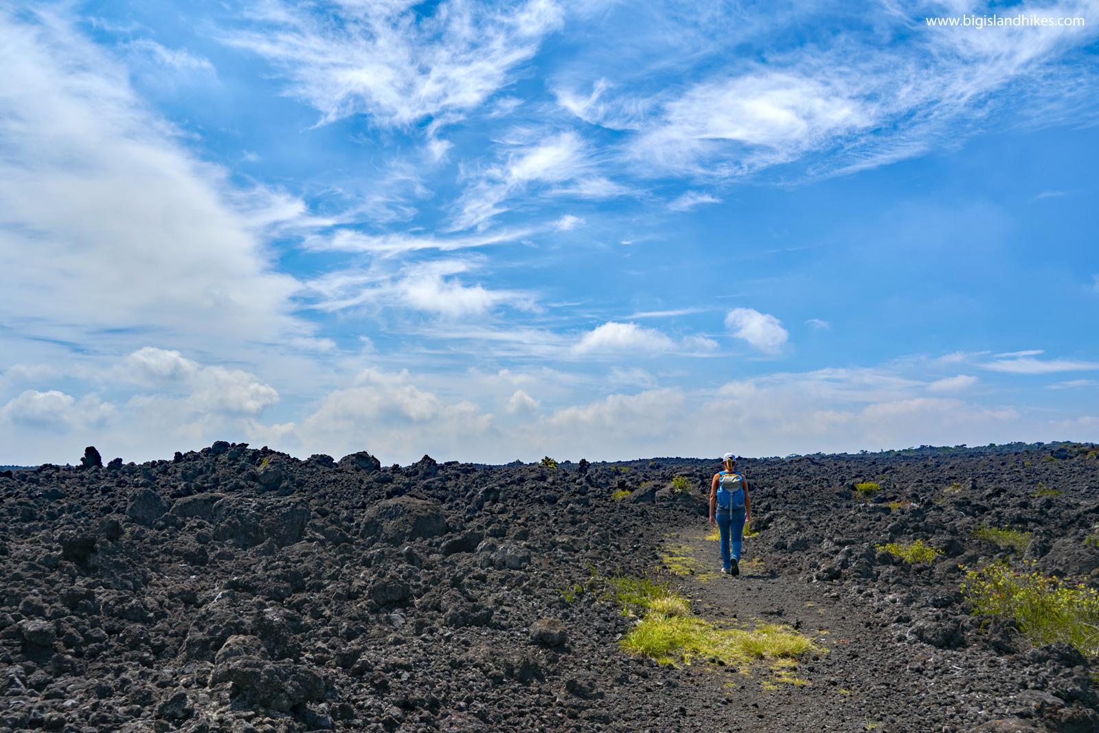 Hiking through lava