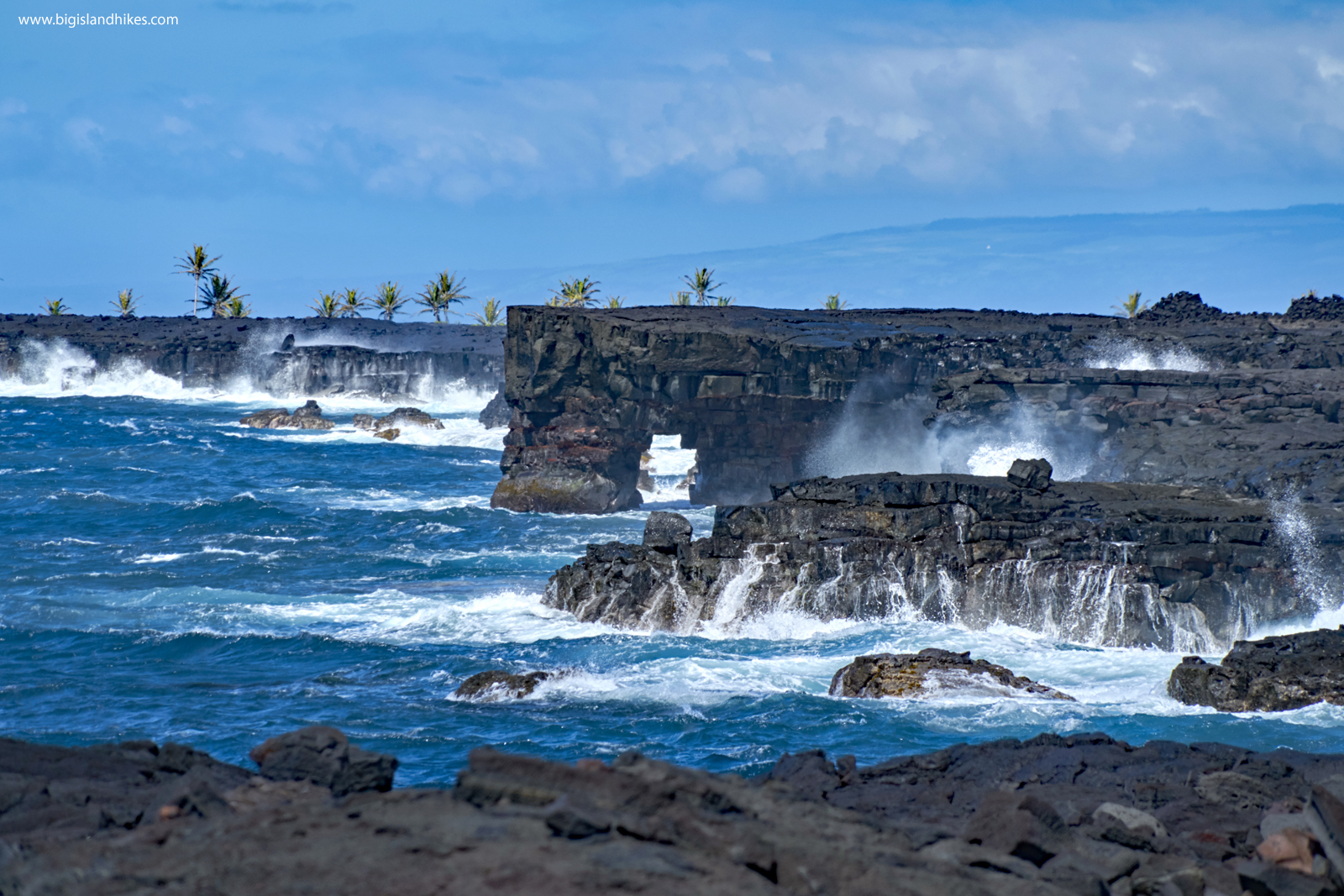 Lava Sea Arches and Powerful Waves