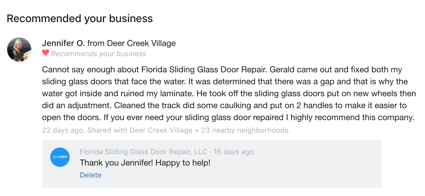 Florida Sliding Glass Door Repair Reviews
