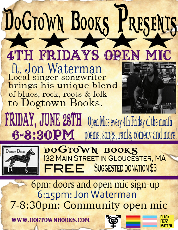 June 28: 4th Fridays Open Mic - We are proud to announce Jon Waterman as this month's 4th Fridays feature. June's event will take place on Friday the 28th at 6:00pm. Following Jon's set, take the stage with your own poetry, prose, music, comedy or whatever you set your mind to. FREE admission; suggested donation of $3.