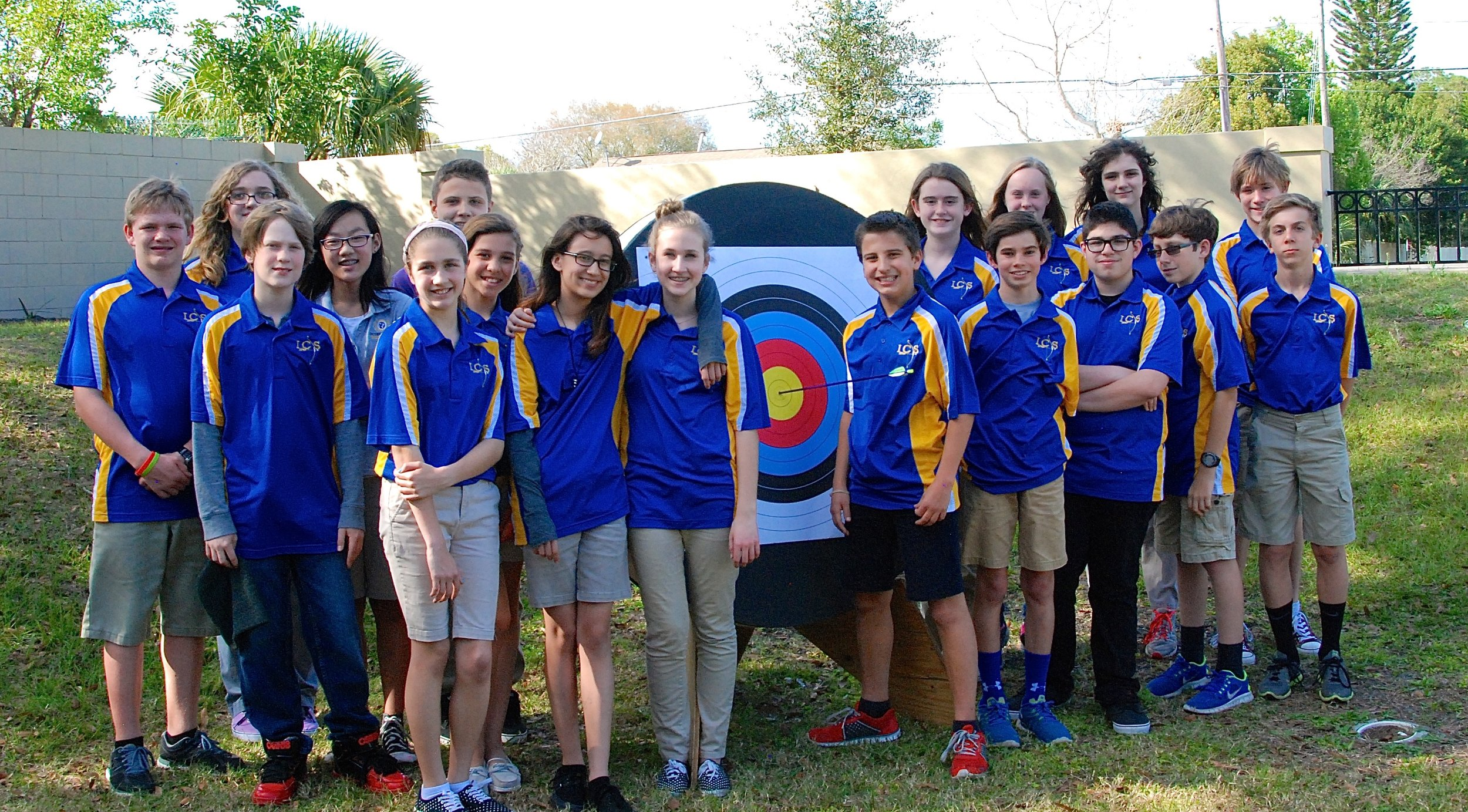 International Community School archery team competing in the 2015 Spring Mail-in Tournament