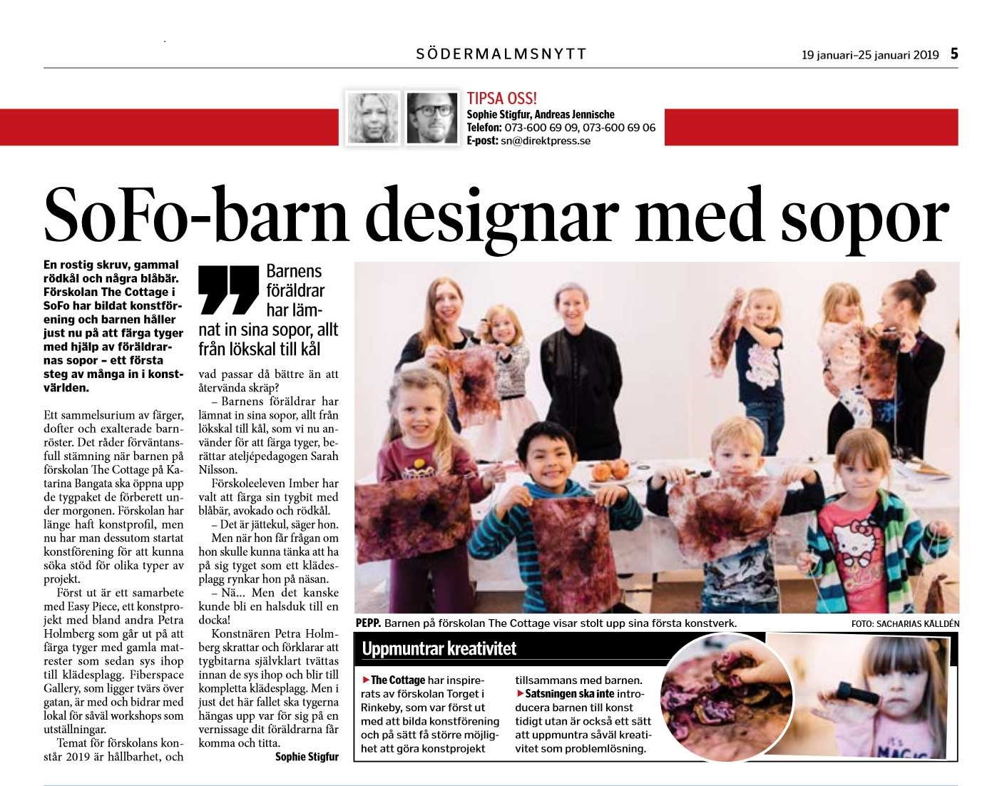 Södermalmsnytt 18 jan 2019 - artikel Easy Piece The Cottage Fiberspace slow creations.jpg