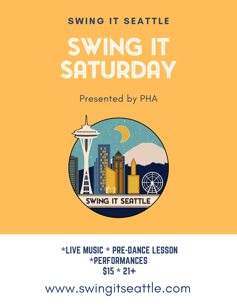 SWING IT SATURDAY - Monthly event featuring Live Music, Workshops, & Performances.7:30-8:15 Drop-In Lesson8:15-11:30 Dance/PerformancesSWING IT SATURDAY are located at Polish Home (PHA),  1714 18th Avenue on Capitol Hill. This incredible space has a 3500 square foot sprung dance floor, bar, and free parking.Sept. 7 Jonathan Doyle QuartetOct. 5 TBAProduced by Swing It Seattle on behalf of Polish Home Association.Volunteer Childcare Services available from 7:00-10:00 during the event. Please email us in advance if you would like to utilize this service.