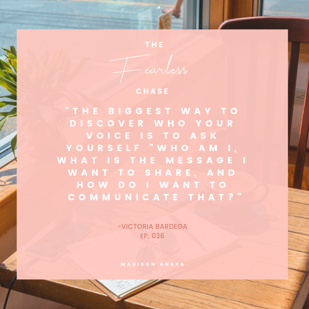 The Key to Defining Your Voice as a Writer or Blogger with Victoria Bardega The Fearless Chase with Madison Anaya