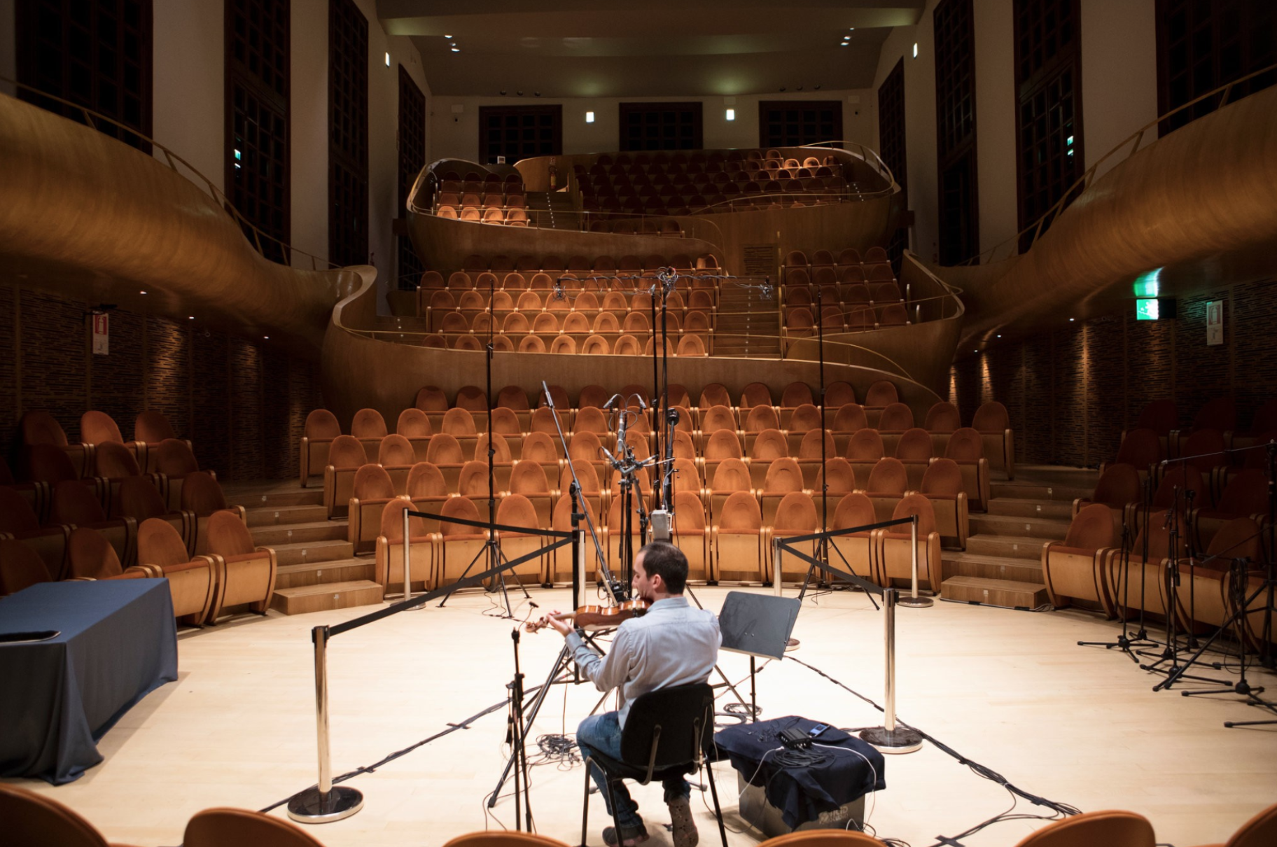 The 464-seat Auditorium Arvedi was designed around the sound of the instruments. For the recordings, every light bulb in the hall was unscrewed to eliminate a faint buzzing sound. Credit: Isabella de Maddalena for The New York Times