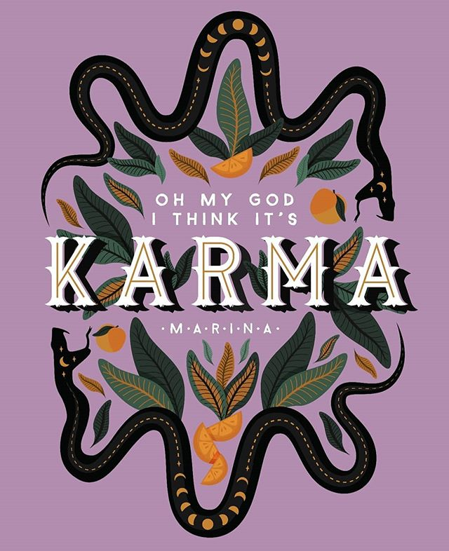 ✨ don't mess with karma ✨ something a bit different today! I saw @marinadiamandis last week and I am obsessed with her new album! I hadn't seen her live since 2010 and she was incredible. I have Karma on repeat! I won't be posting much for the next 10 days as I'm on holiday with my girl pals, and I think it will be a good opportunity to have a bit of a social media/design break 💕 . . . #marina #marinaandthediamonds #karma #quote #positivequotes #positivity #snakes #illustrationinstagram #illustrations #illustrator #botanicalillustration #songlyric #love+fear #darkartist #orange #type #graphicdesign