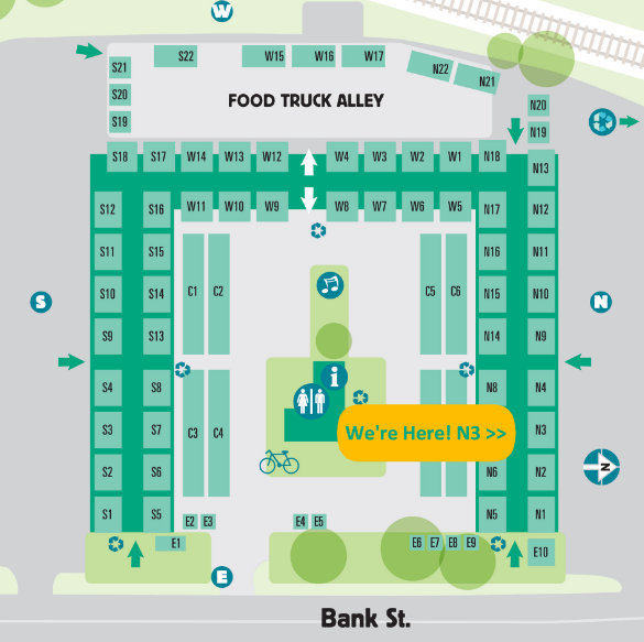 When your back is to Bank St, and you're facing the Market, our booth is on the right under the roof just a few stalls in.