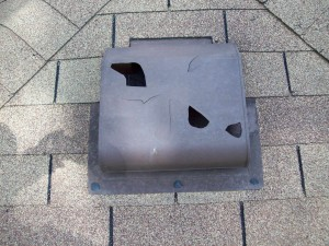 Holes punched in plastic roof vent