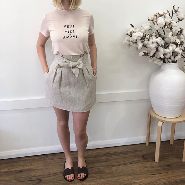 """So many new arrivals, so little time! ✨  The Lucie Skirt is an absolute winner and we're loving the sweet """"Veni, Vidi Amavi """" Tee styled together for a more casual look - bring on the warm weather!  Shop new arrivals now via www.be-spokeboutique.com"""