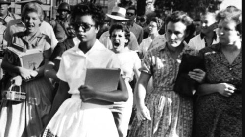 Elizabeth Eckford, age 15, pursued by a mob at Little Rock Central High School on the first day of the school year.
