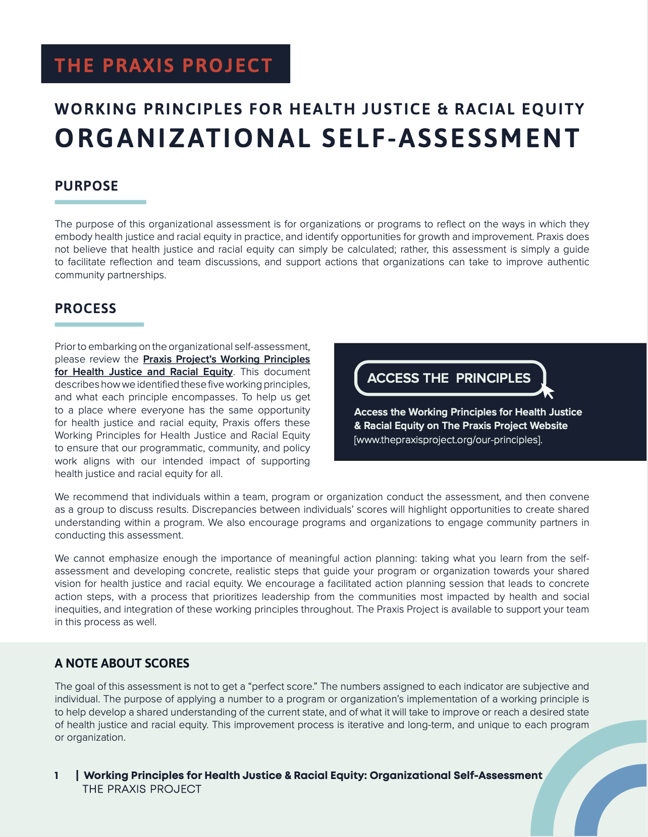 Working Principles For Health Justice Racial Equity Organizational Self Assessment The Praxis Project Self assessment template is an important tool in your pocket that helps you achieve your goals. working principles for health justice