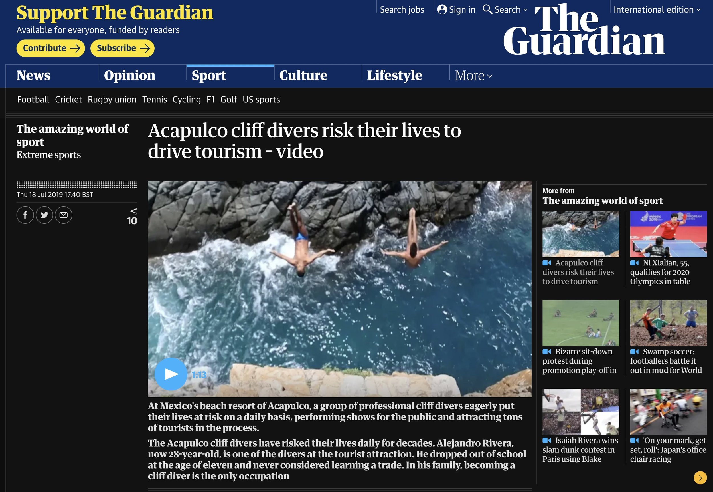 The story published on the Guardian