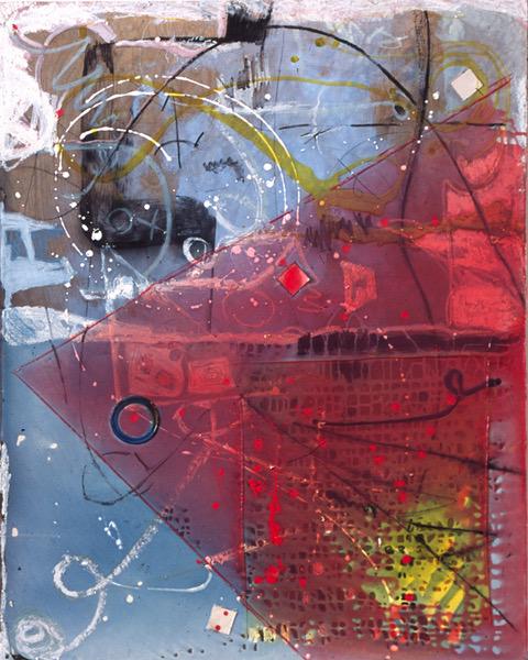 Joyce Wellman - Blues indigo - 50 x 40 - acrylic on wood