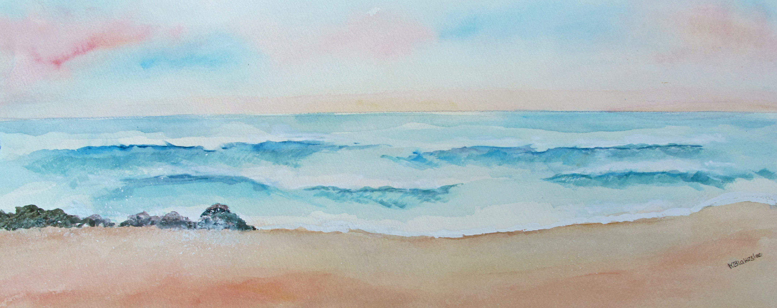 Waves  - 10 x 24- watercolor