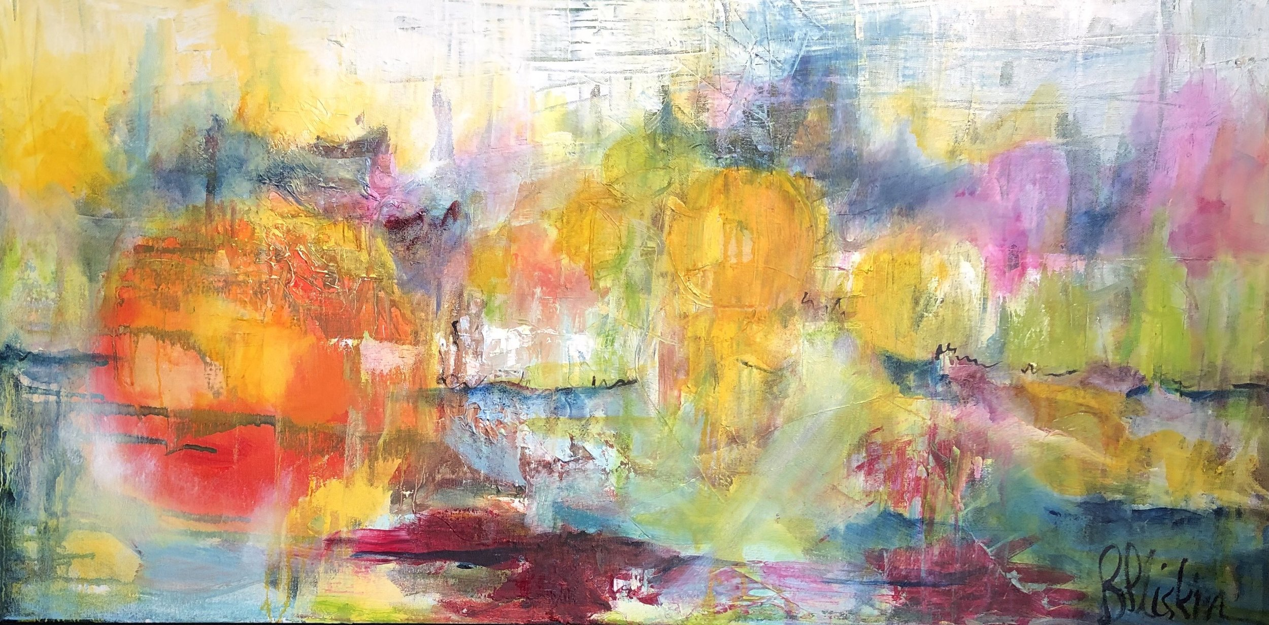 Barbara Pliskin - Sun Series IV - oil on canvas - 18 x 36