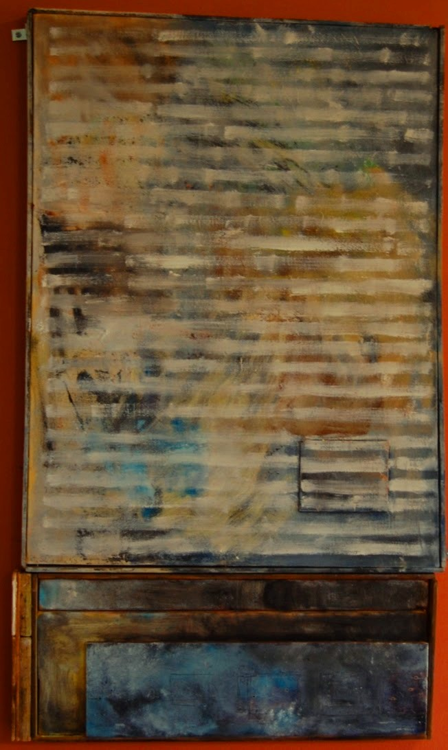 Pete Seligman - Window Treatment - oil on canvas and wood - 32 x 18.5