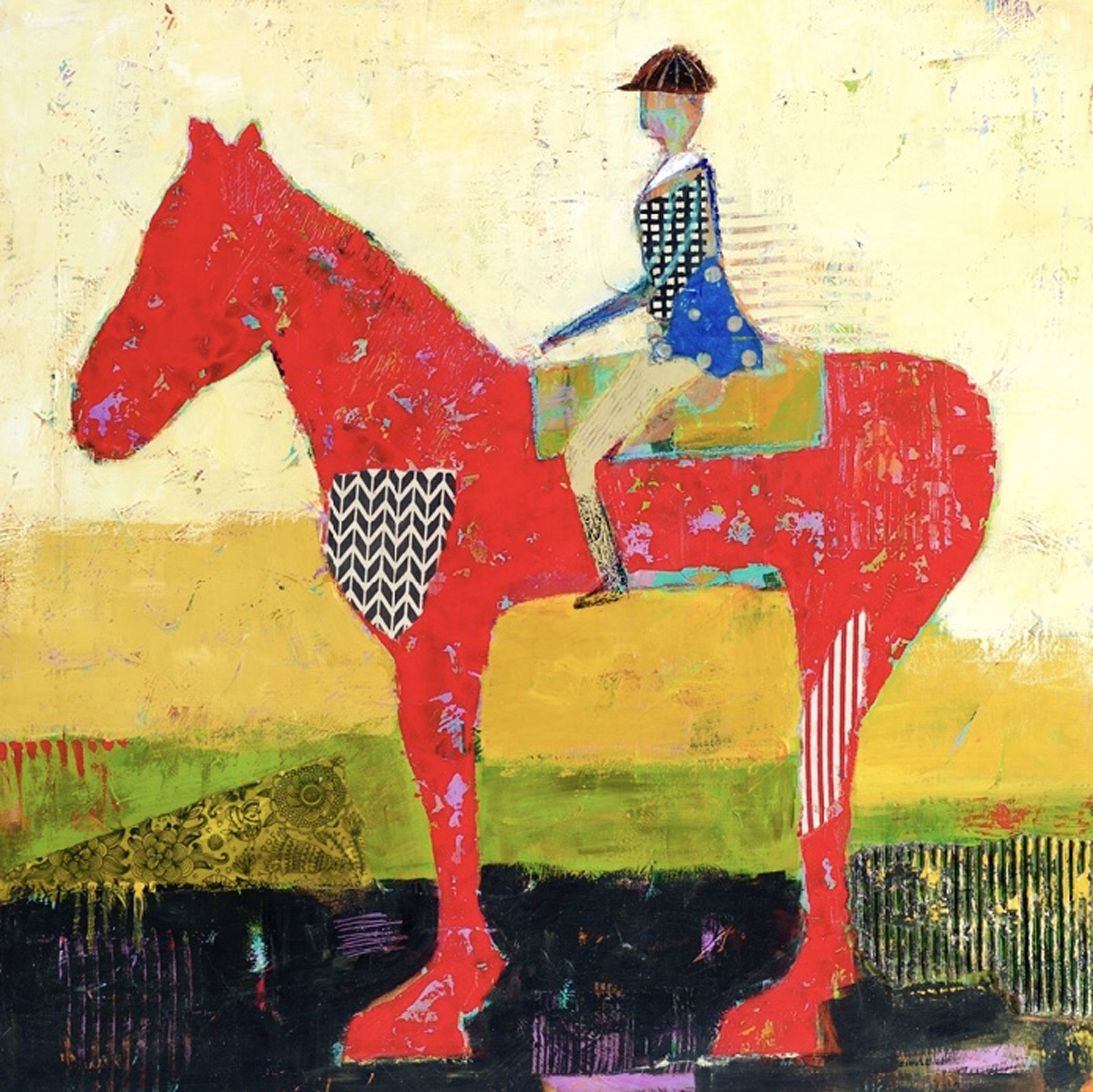 """Charlene Nield - Ride a Red Horse - acrylic/mixed media on panel - 30"""" x 30"""""""