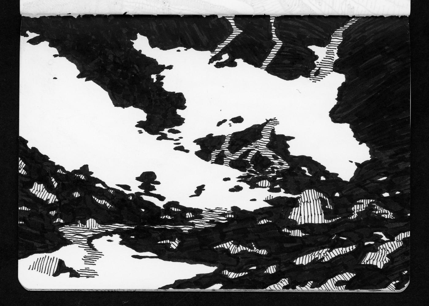 05-20 Melting snowpiles and stream below Lake Edna.jpg
