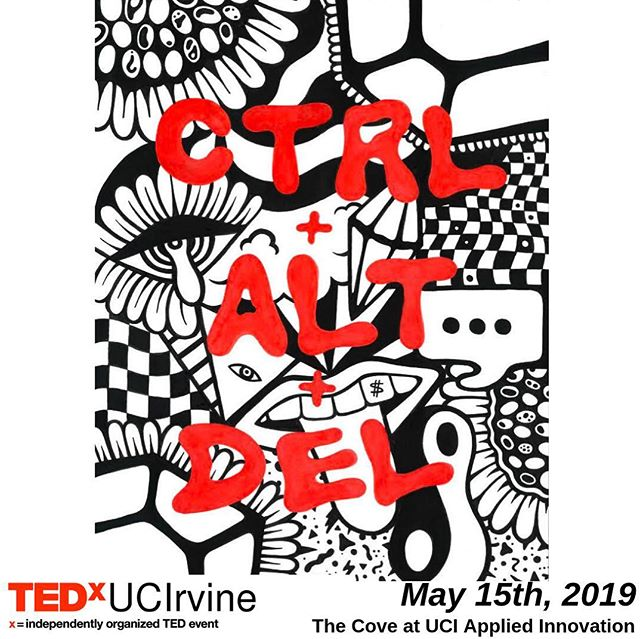 "We are proud to present ""Ctrl + Alt + Del"" as our Spring 2019 TEDxUCIrvine production hosted at @ucicove on May 15th from 6:00-8:30 PM. Tickets are now on sale, to purchase follow the link in our bio. Students can use code ""EARLYBIRD5"" until next week to save $5 off their admission. A special thank you to our artist Angyll Suarez @aangyll for designing this year's artwork! We'll see you May 15th!"