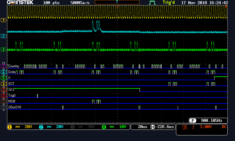 Screen capture from the GW Instek MSO-2204EA dual mode oscilloscope showing analogue waveforms and digital pulse view