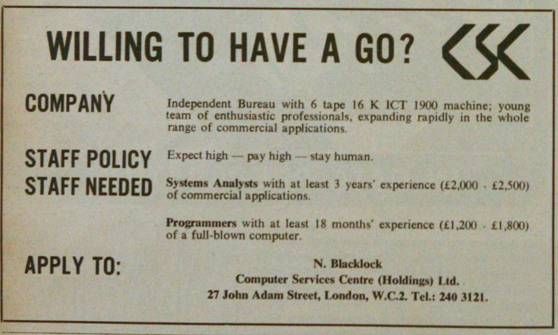 Computer Services Centre advert