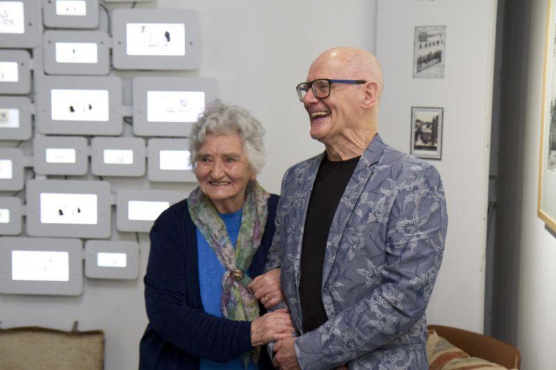 Irene Dixon with Peter Higginson in the W Heath Robinson exhibition. (Photo Courtesy of TechnoVisual)