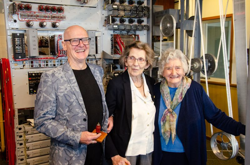 Peter Higginson, Margaret Sale and Irene Dixon by the Heath Robinson machine. Photo courtesy of Andy Taylor.