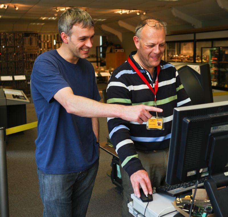 Delwyn Holroyd with Peter Vaughan volunteering at the museum